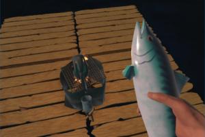 ラフト、釣り竿で釣った魚の画像
