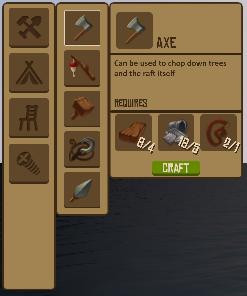 ラフト、斧の作り方の画像