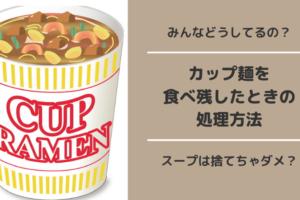 カップ麺を食べ残した時の処理方法!スープを流しに捨てると詰まりの原因に?